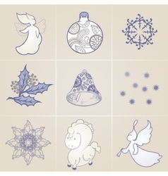 Set of elements on a Christmas theme vector image