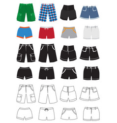 shorts fashion icons vector image vector image