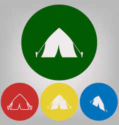 tourist tent sign 4 white styles of icon vector image
