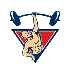 Weightlifter lifting barbell weights retro vector