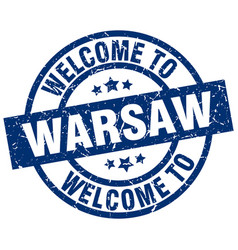 Welcome to warsaw blue stamp vector