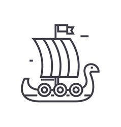 Wooden viking ship line icon sign vector