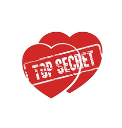 Two hearts top secret stamp vector