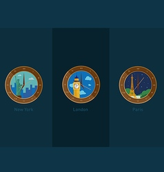 Development of icons on the theme of travel and th vector