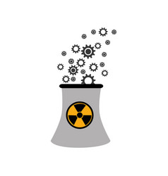 Monochorme silhouette nuclear reactor with hazard vector