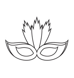carnival mask with feathers thin line vector image