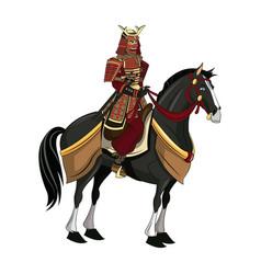 warrior samurai with armor traditional riding vector image