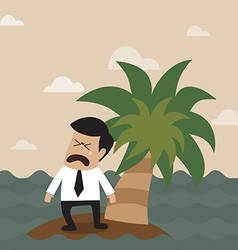 Lonely businessman on the small island vector