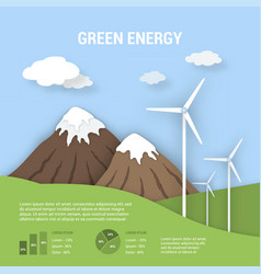 paper art ecological banner green energy vector image