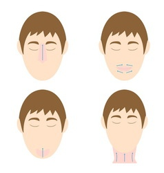 Man easy massage anti face wrinkle 2 vector