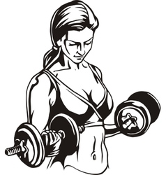 Pretty young woman lifting dumbbells - vector
