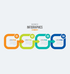 4 steps timeline infographic template with arrows vector