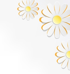Three cutout chamomiles on grayscale floral spring vector