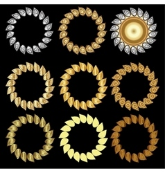 Hand-drawn golden laurel wreaths vector