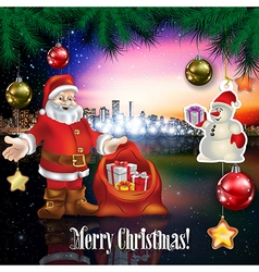 Abstract celebration with Santa Claus snowman and vector image