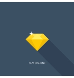 Flat diamond with shadow vector