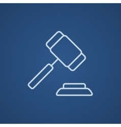 Auction gavel line icon vector