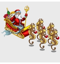 Triton santa claus on sleigh drawn by sea horses vector