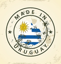Stamp with map flag of Uruguay vector image