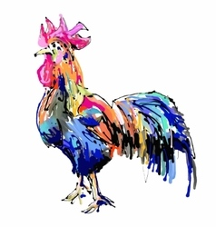 Original retro chickendigital painting drawing vector