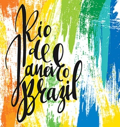 Inscription rio de janeiro brazil background vector