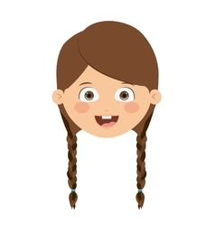 Front head girl isolated icon design vector