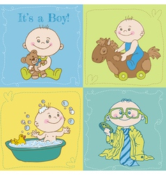 Baby Boy Arrival Card or Baby Shower Card vector image vector image