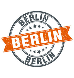 Berlin red round grunge vintage ribbon stamp vector