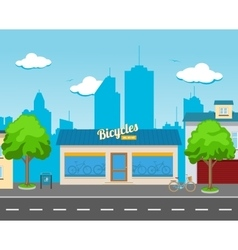 Bicycle Shop in the Street vector image