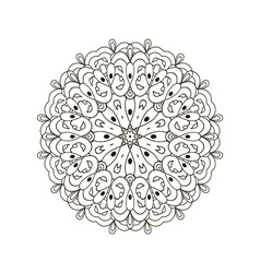 black and white round floral pattern vector image vector image