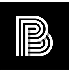 Capital letter b made of three white stripes vector