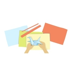 Child doing origami with only hands vector