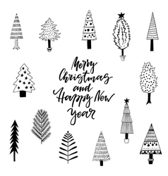 Cute greeting card with Christmas trees vector image