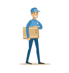 Delivery service worker holding a box under armpit vector
