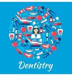 Dentistry abstract symbol with medical flat icons vector image vector image