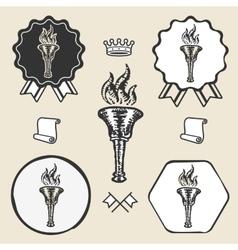 Flame torch vintage symbol emblem label collection vector