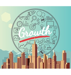 Growth on city and mountain background vector image vector image