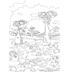 Hand drawing ornamental landscape trees and stones vector