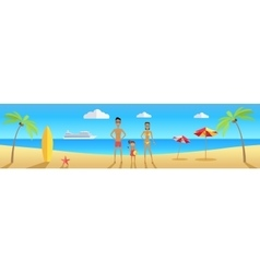 Happy family on beach during vacations vector