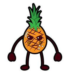 kawaii pineapple fruit expression facial cartoon vector image