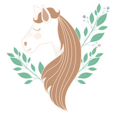 Light colors of female horse face with floral vector