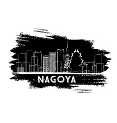 Nagoya skyline silhouette hand drawn sketch vector