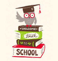 Owl sitting on books vector