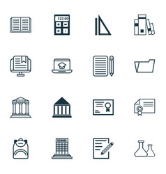 set of 16 education icons includes distance vector image