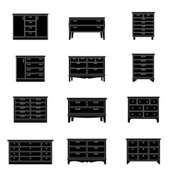 set of chests of drawers vector image vector image