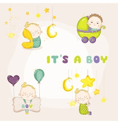 Set of cute baby boy - for baby shower vector