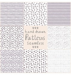 Stock hand drawn seamless patterns vector image vector image