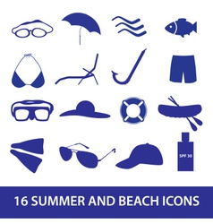 summer and beach icon set eps10 vector image