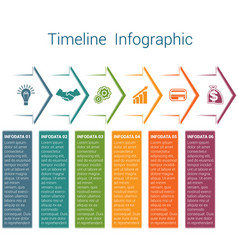 Timeline infographic 6 color arrows vector