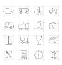 Travel transportation tourism and holiday icons vector